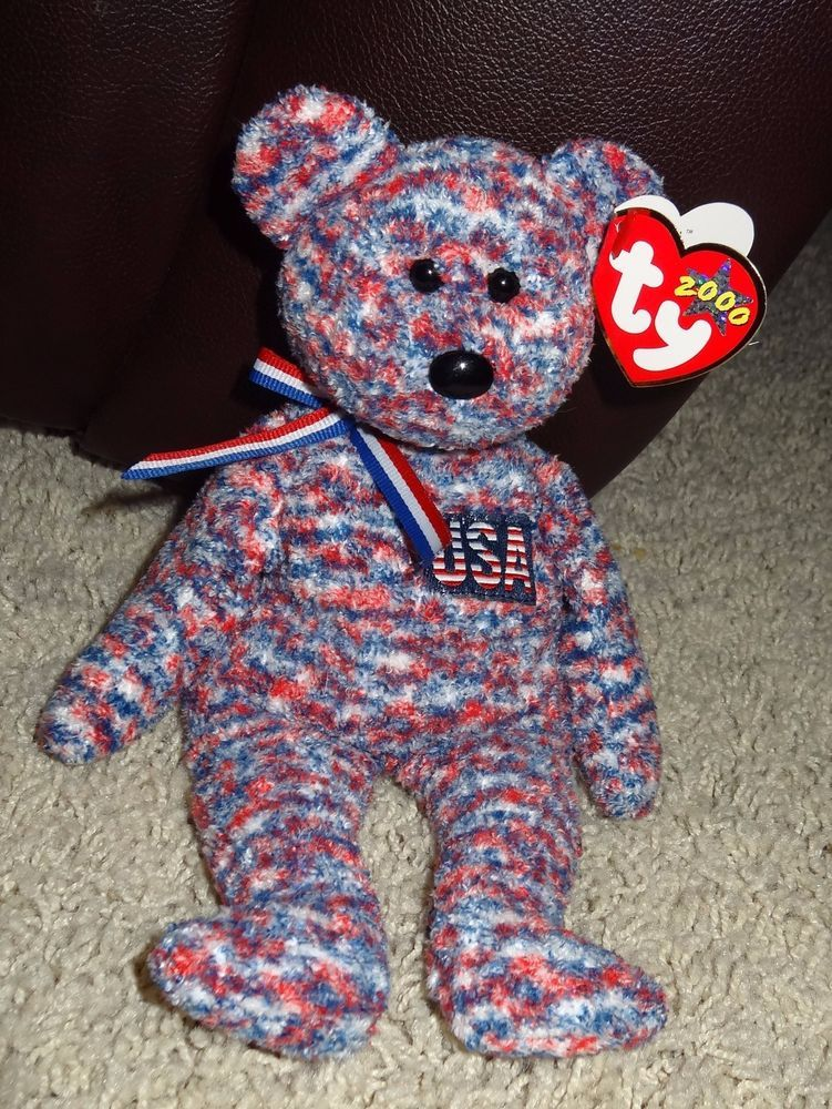 25ef455eae9 TY Beanie Baby USA Bear PE Pellets Red White   Blue Tweed 2000 - TH ...