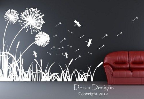 Exceptional Dandelions Dragonflies And Cattails Wall Decal Part 32