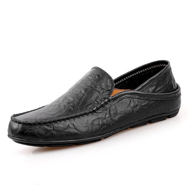 For Men Folded Two Way Wearing Leather Slip On Driving Loafers Shoes -  NewChic