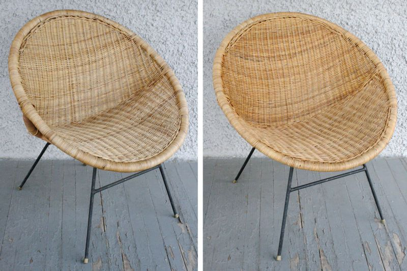 Pair Of Vintage Modern Calif Asia Rattan Wicker Hoop Chairs Wrought Iron Legs