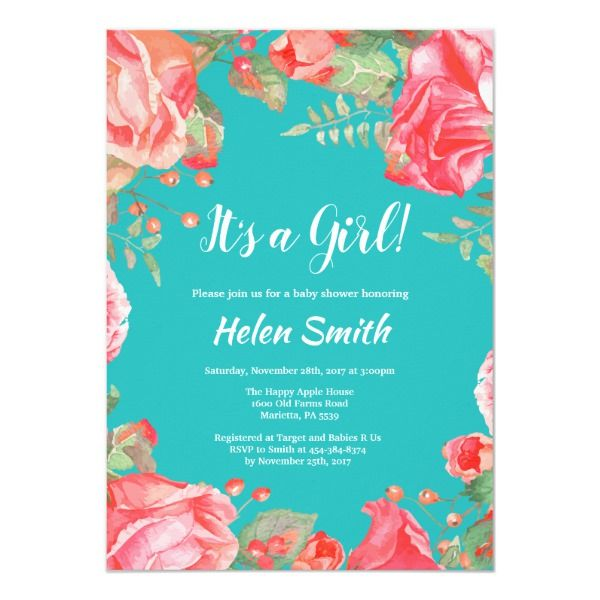 It's A Girl Red Floral Baby Shower Teal Invitation | Zazzle.com images