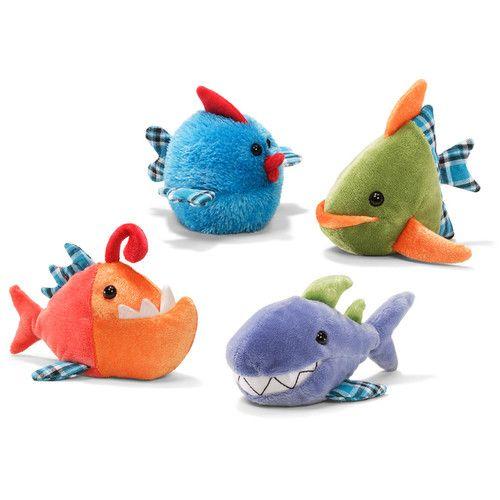 Gund miniature green triangle fish beanbag 4 5 plush for Angler fish toy