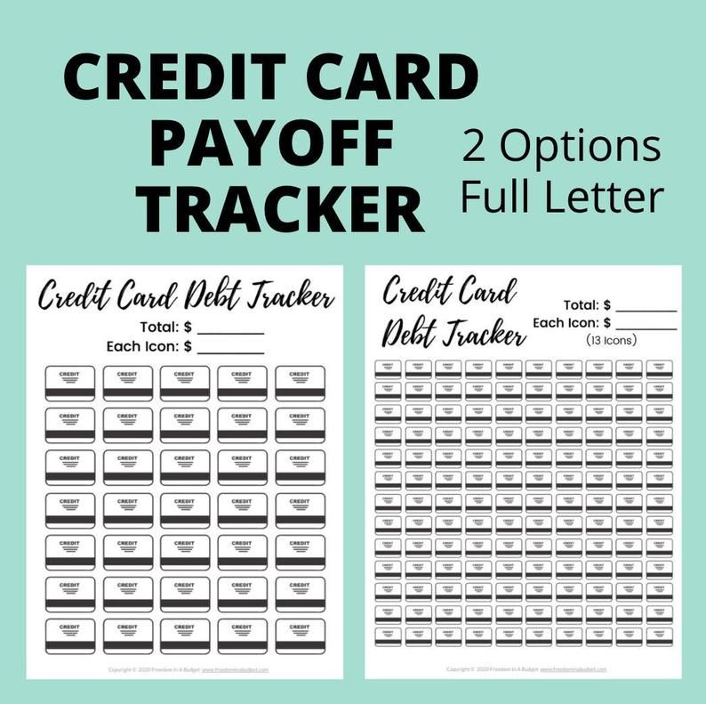 Credit Card Debt Payoff Tracker Printable | Credit