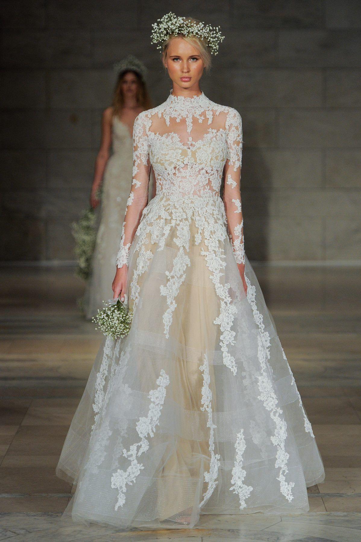 High Neck Long Sleeve Lace Illusion A Line Wedding Dress Reem Acra Style Adoren Reem Acra Wedding Dress High Neck Wedding Dress Wedding Dress Long Sleeve