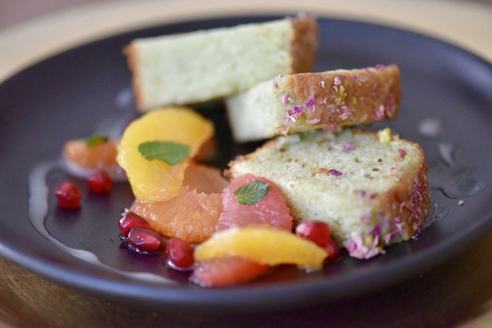 Pistsachio cardamom pound cake with orange blossom winter