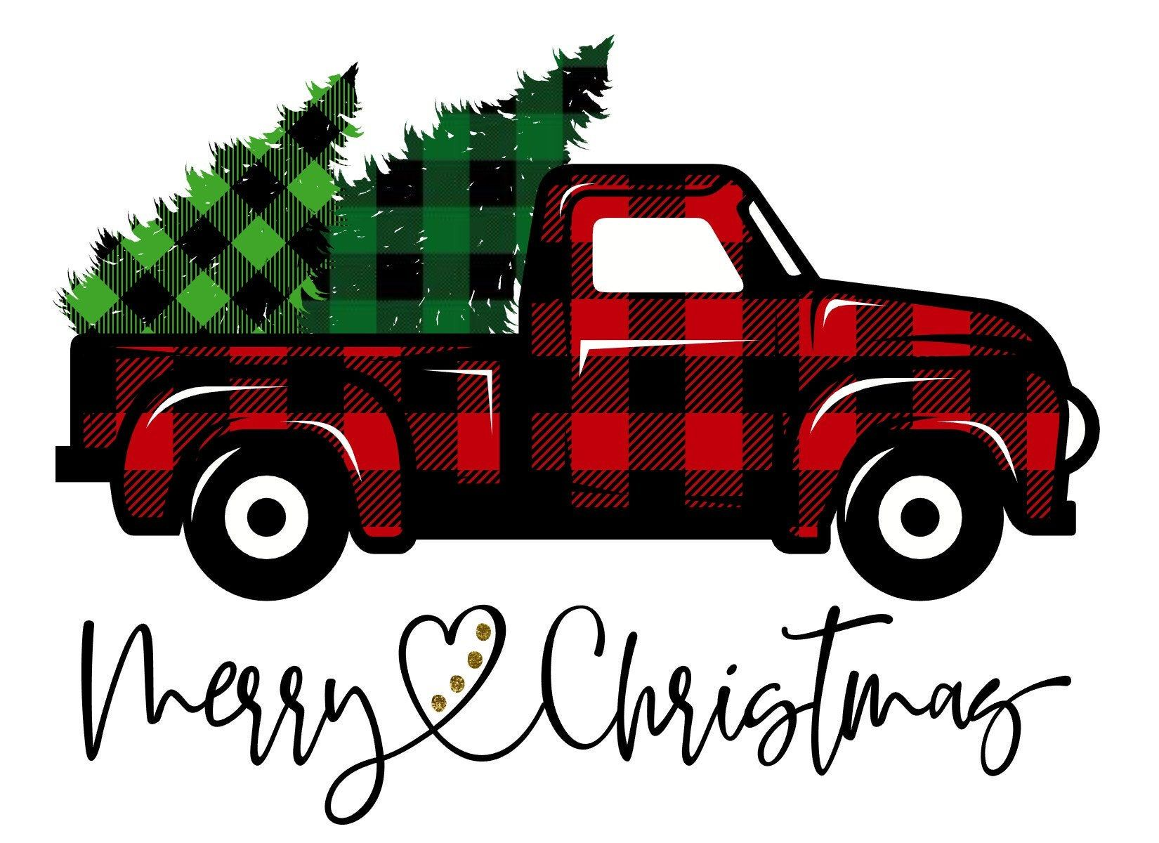 Buffalo Plaid Merry Christmas Truck Trees SVG INSTANT