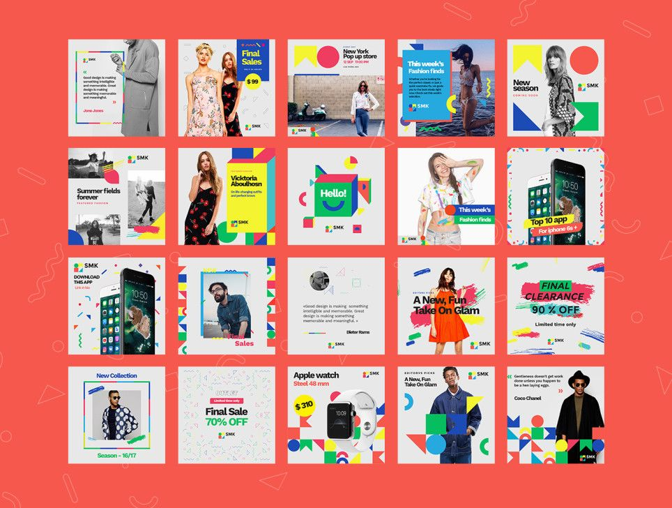 Give your social media accounts a design upgrade with the Multicolor social media kit. This kit contains 60 fully editable and customizable social media headers that were designed in Photoshop and Illustrator to stand out of the crowd.  This kit is ideal for bloggers, fashion brands, lifestyle bloggers, magazines and techno blogs.