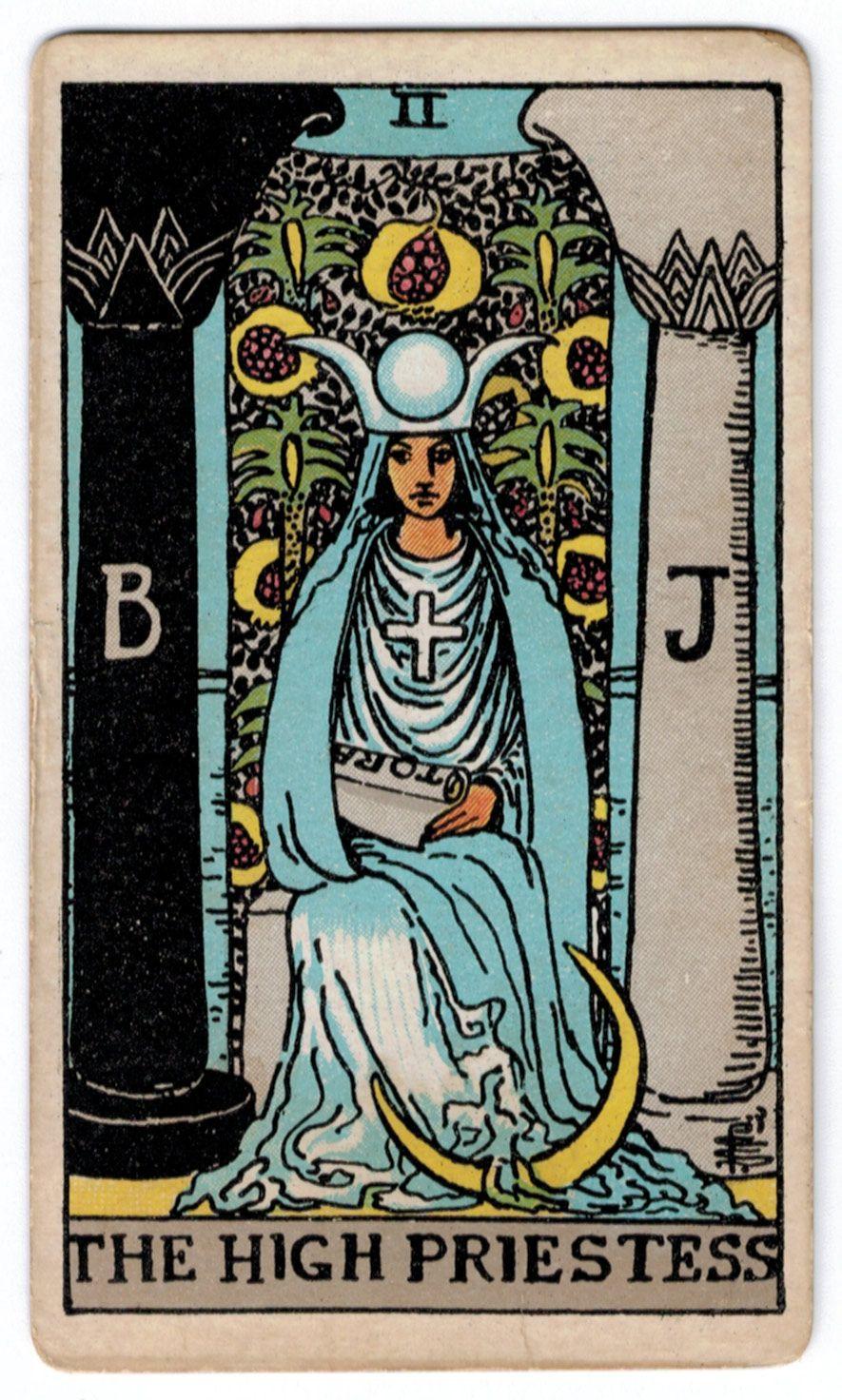 Rider Waite Tarot Cards Set Of 78 Cards By Patriciadmdesigns: Atu 2 - The High Priestess
