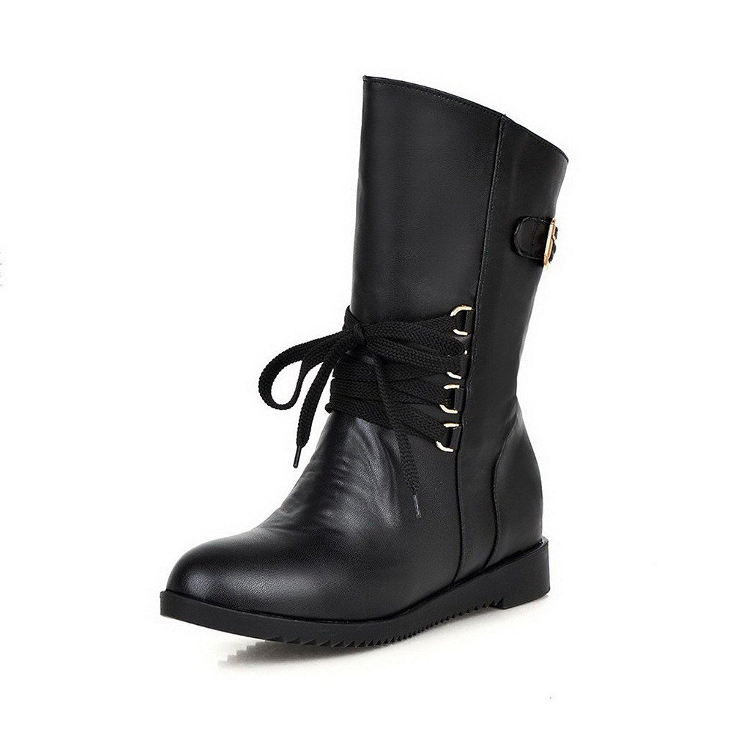Women's Closed Round Toe Low-top Kitten Heels Solid PU Boots