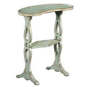 """Hekman Kidney Shape Side Table 27305 - Hekman Kidney Shape Side Table 27305SKU: 27305Manufacturer: HekmanCollection: AccentsFinish: Special ReserveWeight: 18Cubes: 2.2Overall Dimensions:Width 23"""" (58 cm)Depth 11"""" (28 cm)Height 26"""" (66 cm)Features: Mahogany solids and mahogany veneersKidney shape top with raised edgeSmall fixed shelf with raised edge doubles as a stretcher"""