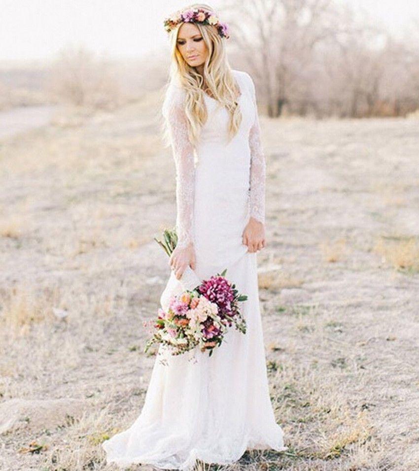 Country lace long sleeve wedding dress v neck mermaid boho wedding