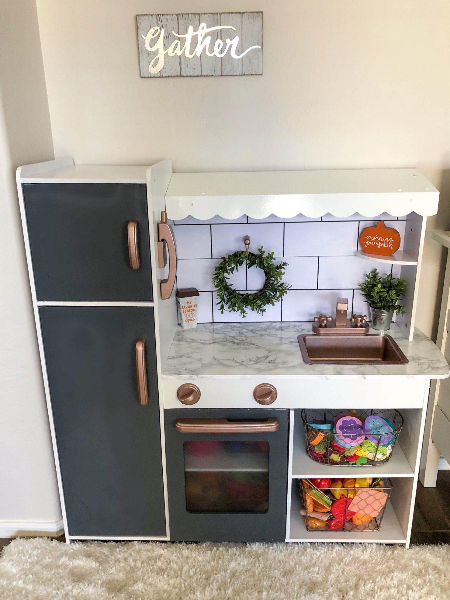 DIY Play Kitchen Makeover - Kristen Harrison #kitchenmakeovers