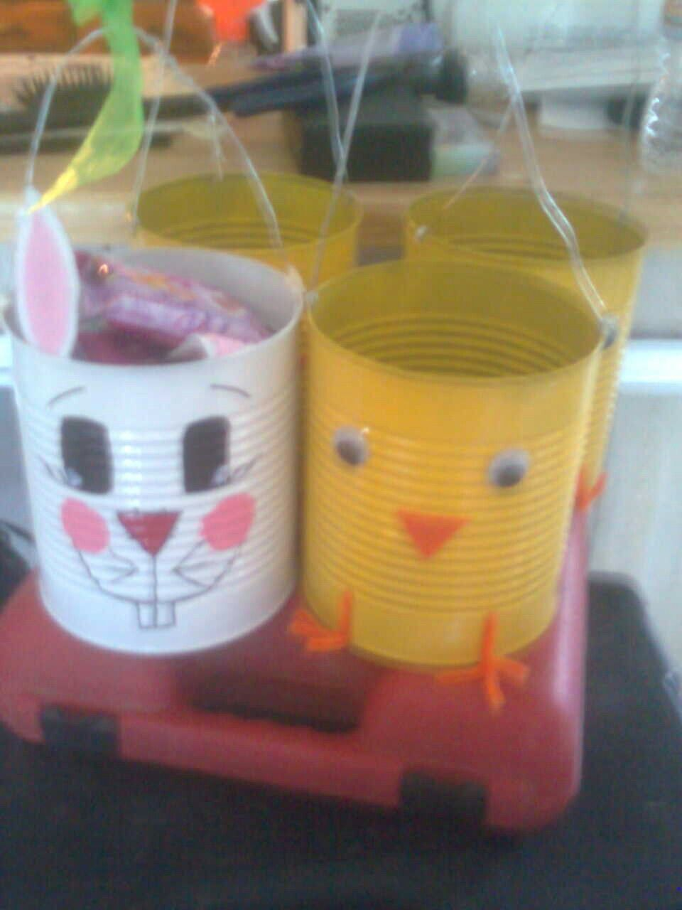 Easter baskets made from value size tin cans 4 hunter connor easter baskets made from value size tin cans easter craftseaster projects kids craftsclassroom projectsclassroom ideasspring negle Choice Image