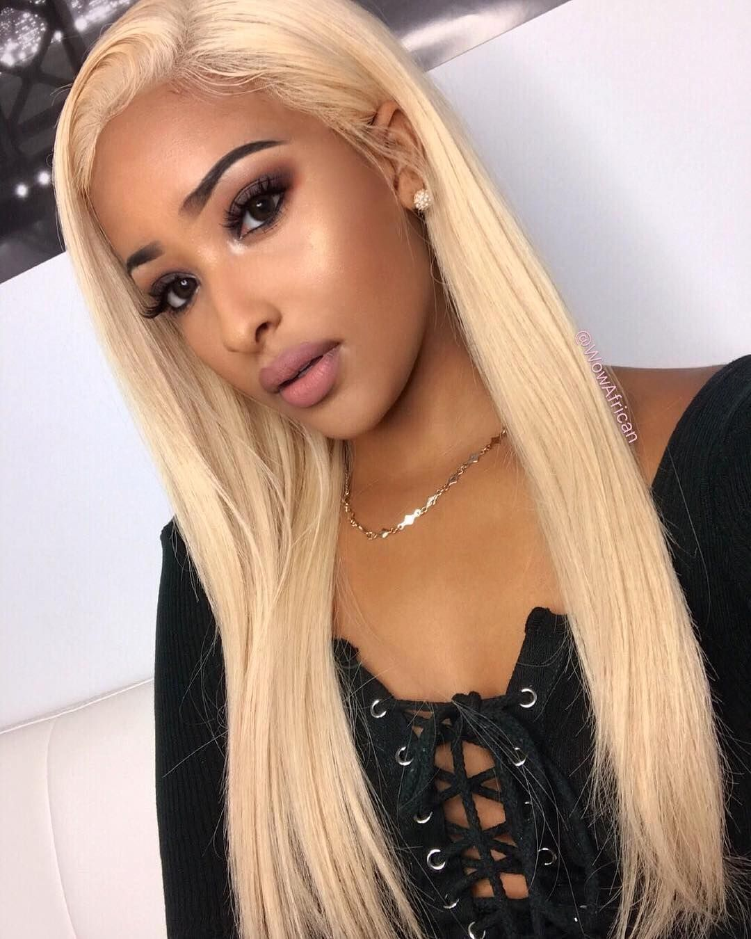 Brazilian Hair 613a White Blonde Color Glueless Full Lace Wig