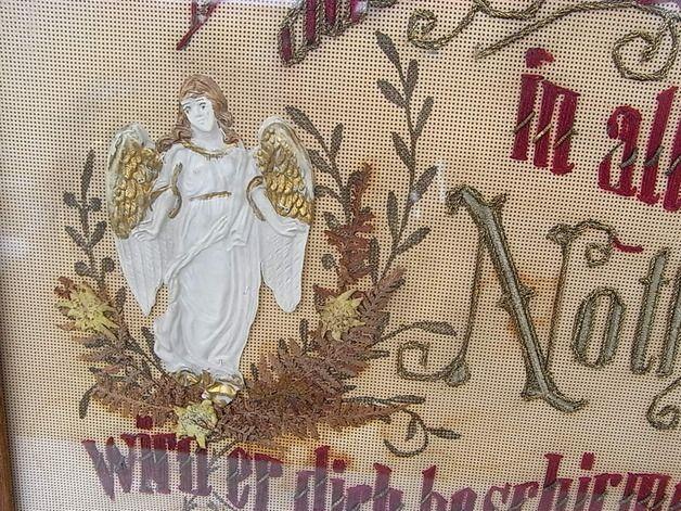 Vintage Bilder - antiker Haussegen Engel Madonna Bild shabby chic - ein Designerstück von artdecoundso bei DaWanda