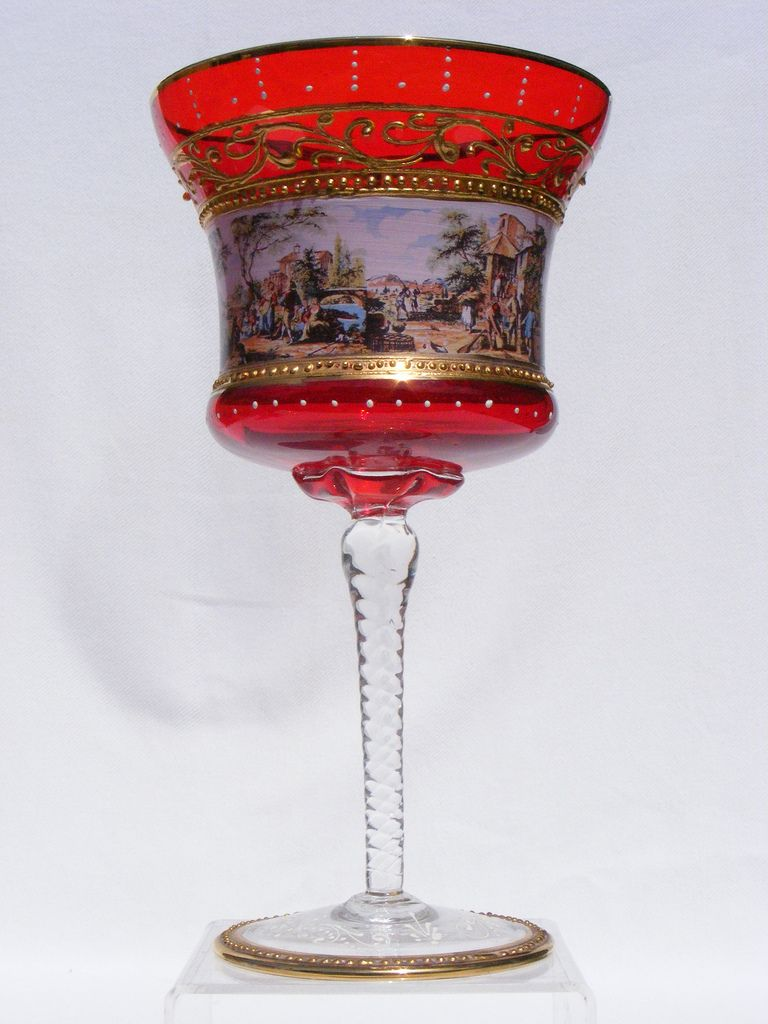 9 Venetian Murano Enamelled And Gilded Ruby Glass Goblet Red Glass Antique Glass Glass Stemware