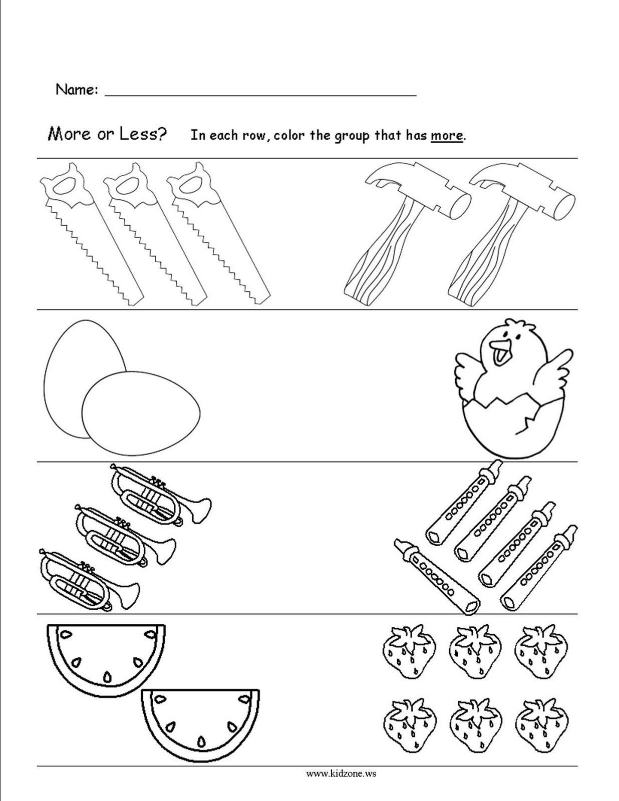 Categorizing Worksheets For Kindergarten In 2020 More And Less Preschool Worksheets Kindergarten Worksheets Printable [ 1600 x 1236 Pixel ]