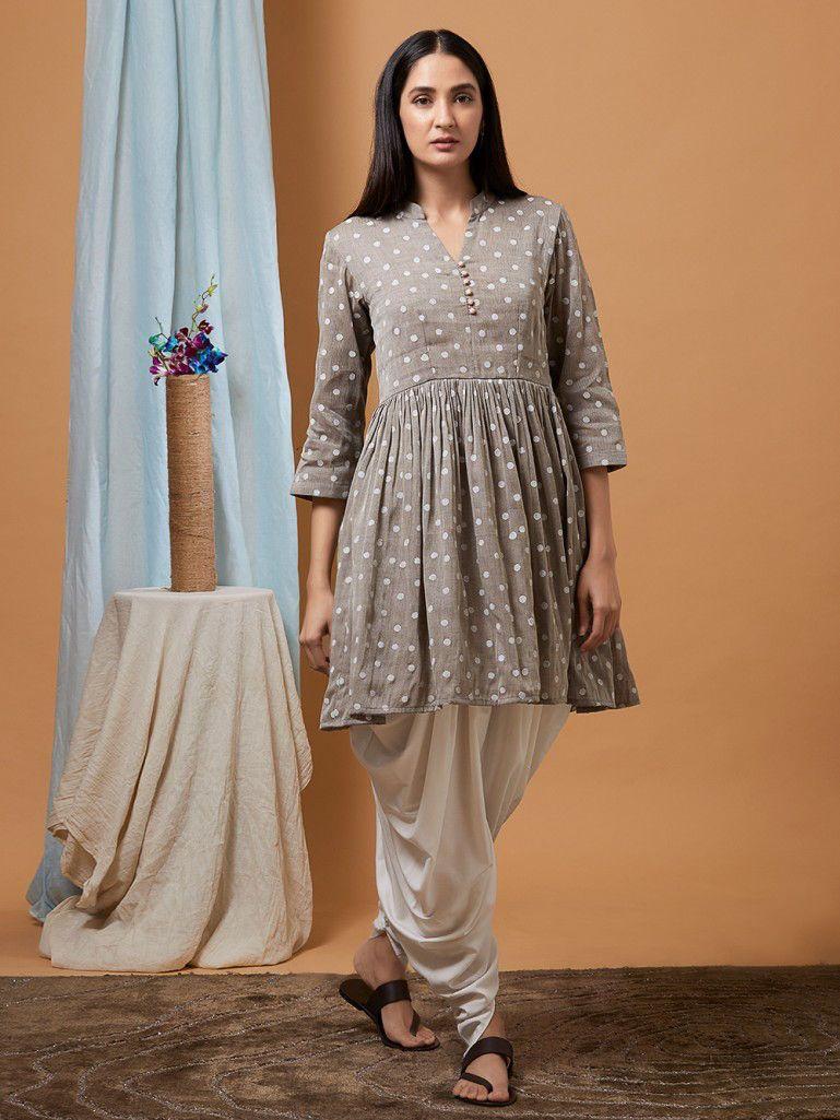 2d77bf67636 Buy Grey Polka Hand Block Printed Cotton Linen Kurta with Off White Dhoti  Pants - Set