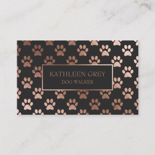 Rose Gold And Charcoal Paw Print Pattern Business Card Zazzle Com Pet Groomer Business Business Card Pattern Business Cards Pets