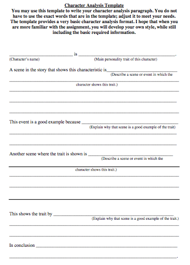 Character Analysis Template  Common Core    Common