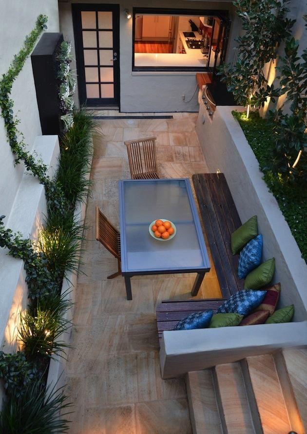 gestaltung terrassen schmal essplatz freien bodenfliesen holz ...