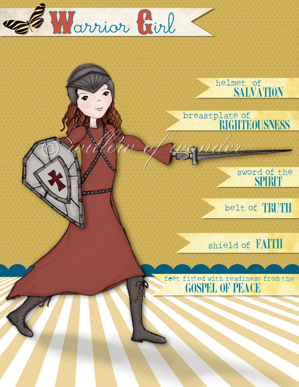 Scripture Art - Warrior Girl - Redhead - Armor of God print. $18.00 ...