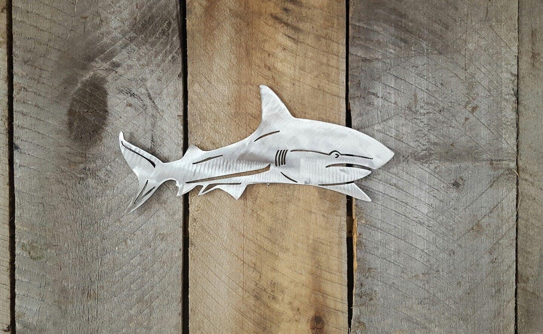 Great white shark metal wall art hanging home decor garden