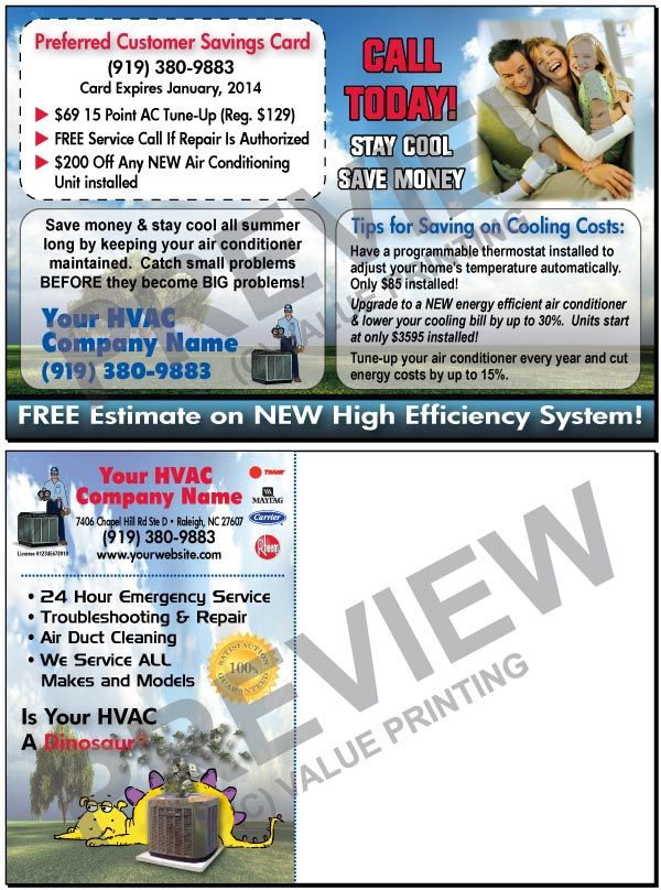 Promote More Services With This Post Card Including Tune Ups Programmable Thermostat And New System Install Hvac Air Conditioning Services Marketing Postcard