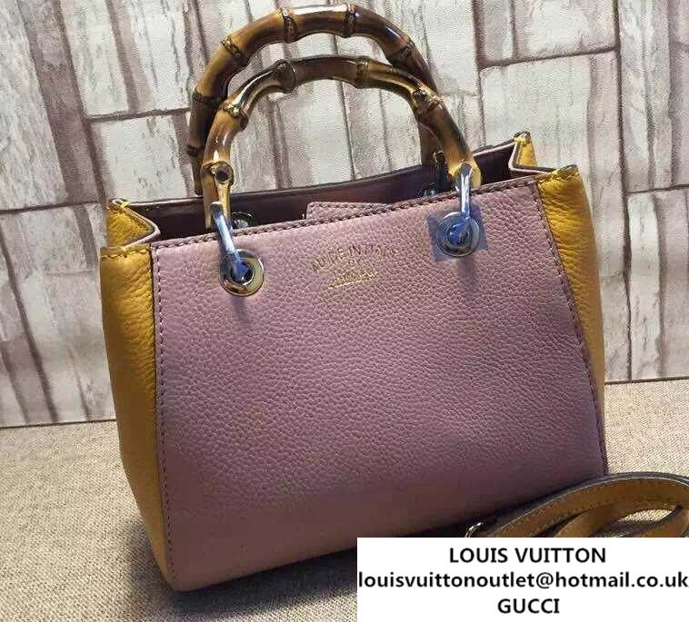 6e4fac7b23cb Gucci Mini Bamboo Shopper Leather Top Handle Bag 368823 Pink/Yellow ...