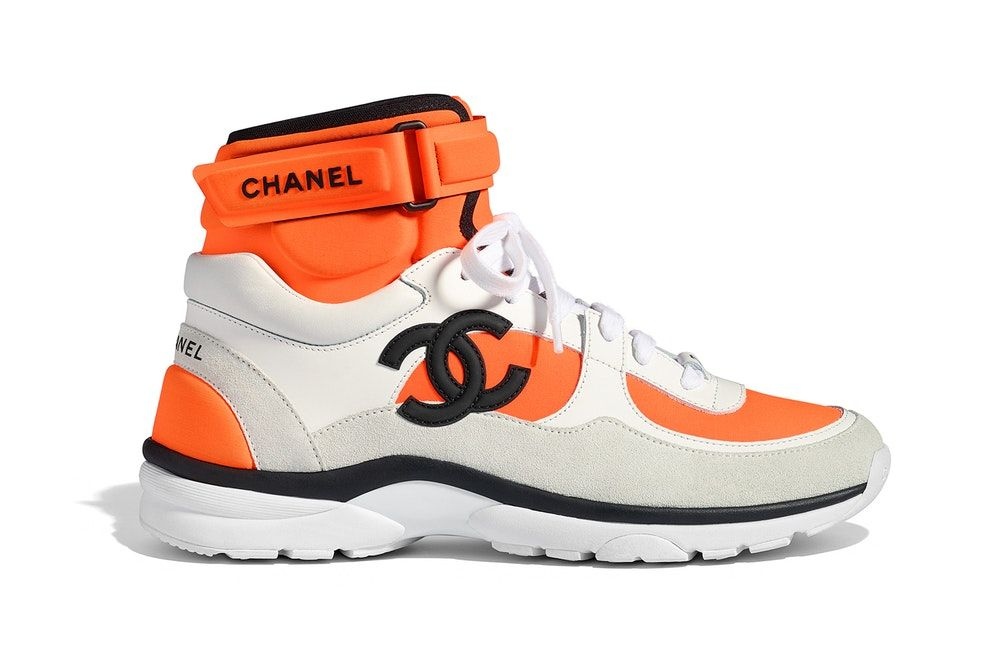 huge discount aeac5 c1196 Chanel Spring Summer 2018 Pre-Collection Pre-Spring Sneaker Logo CC Double  C Karl Lagerfeld High Top Orange