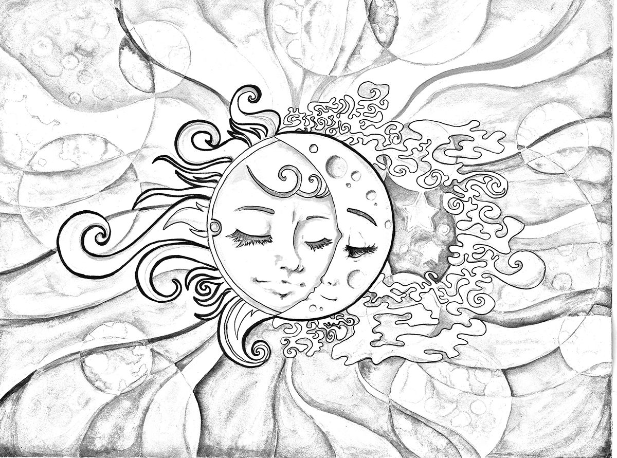 Sun Moon Coloring Page On Behance Star Coloring Pages Sun Coloring Pages Moon Coloring Pages