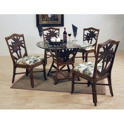 Cancun Palm Indoor Round Dining Set With 4 Side Chairs Fabric Prepossessing Indoor Wicker Dining Room Sets Decorating Inspiration