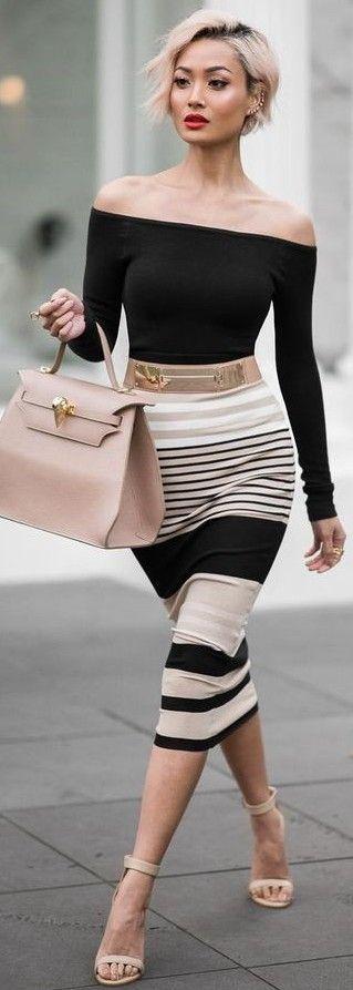 #ending #summer #outfits   Off The Shoulder + Stripes