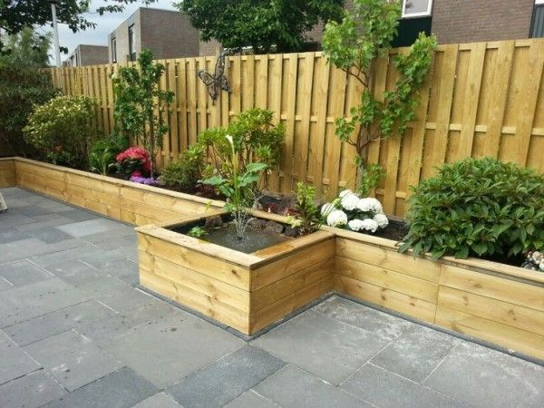 Raised beds along a fence make a great border garden for Garden bed fence ideas