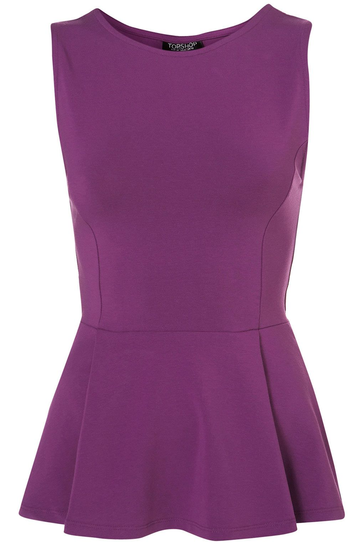 SLEEVELESS PEPLUM TOP Violet sleeveless peplum top 96% Cotton,4% Elastane. Machine washable.