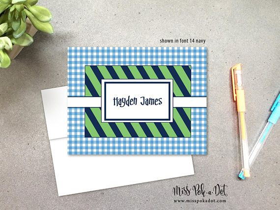 personalized folded note cards preppy plaid navy stripes - Personalized Folded Note Cards