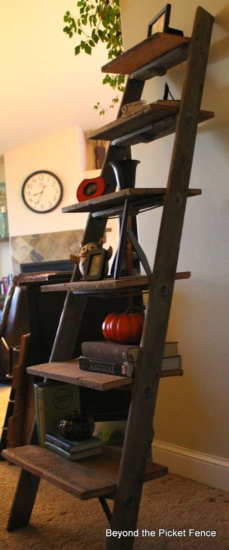Barnwood ladder shelf diy farmhouse projects via a blissful nest