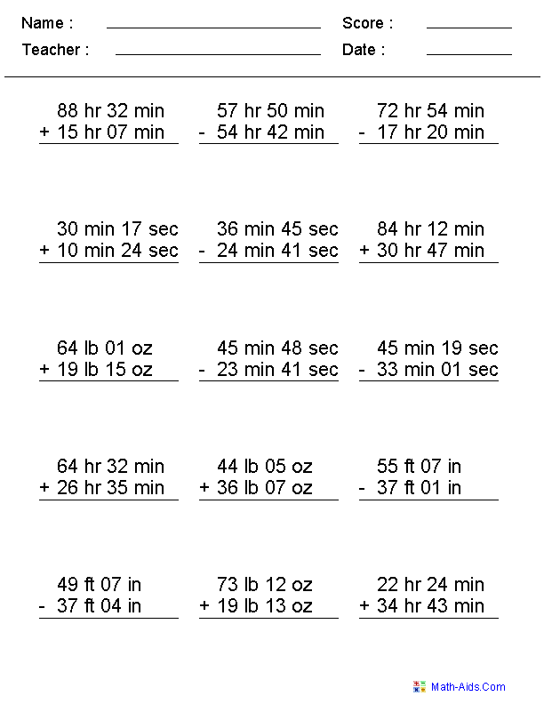 Adding & Subtracting Irregular Units Worksheets | School ...