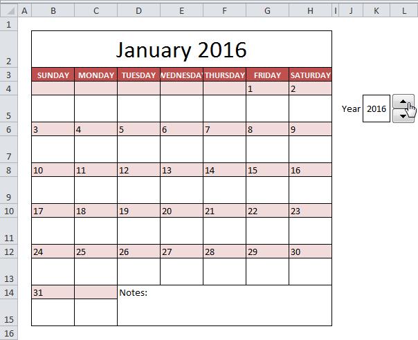 Calendar Template In Excel