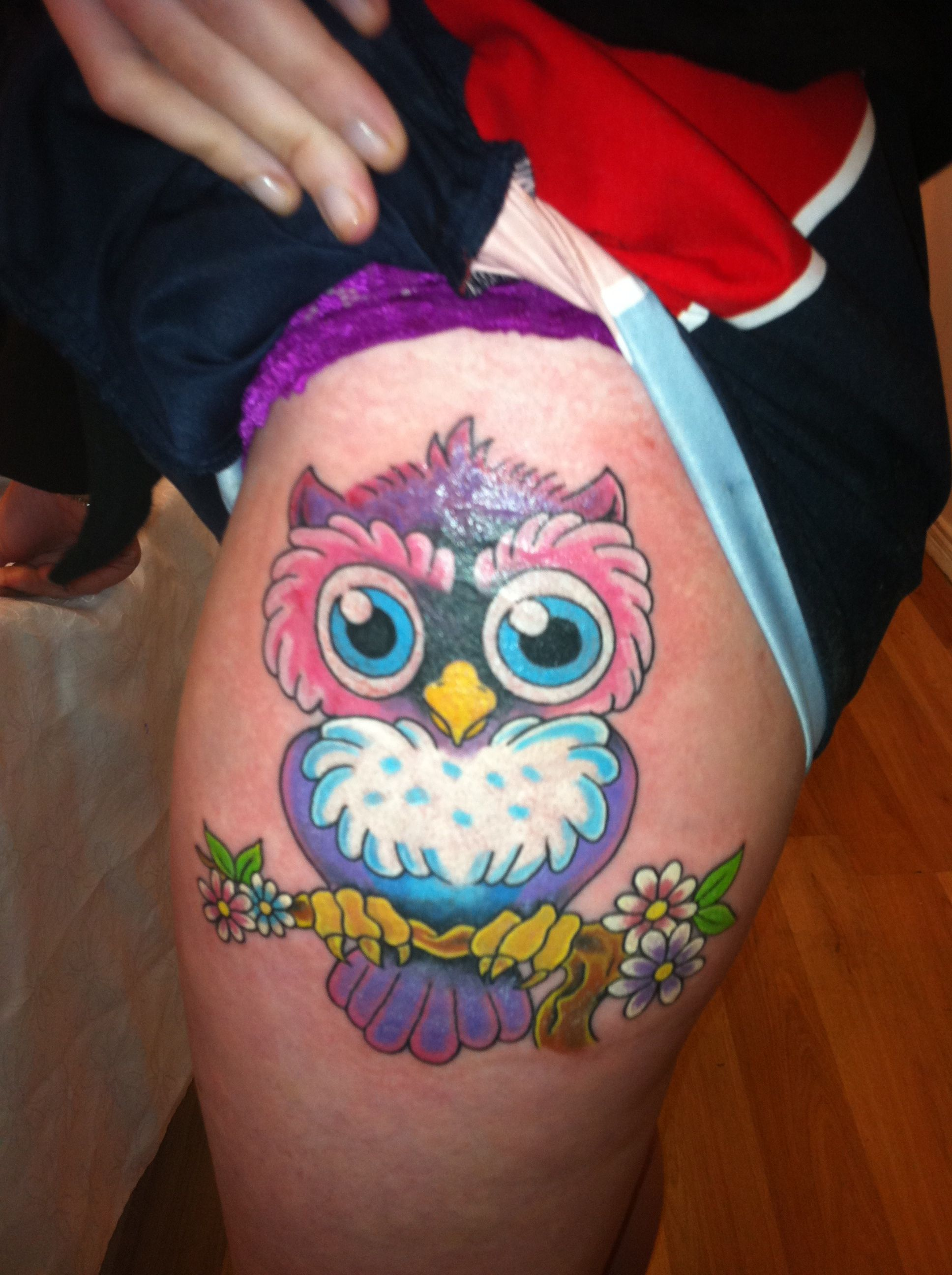 Owl Tattoo Colorful