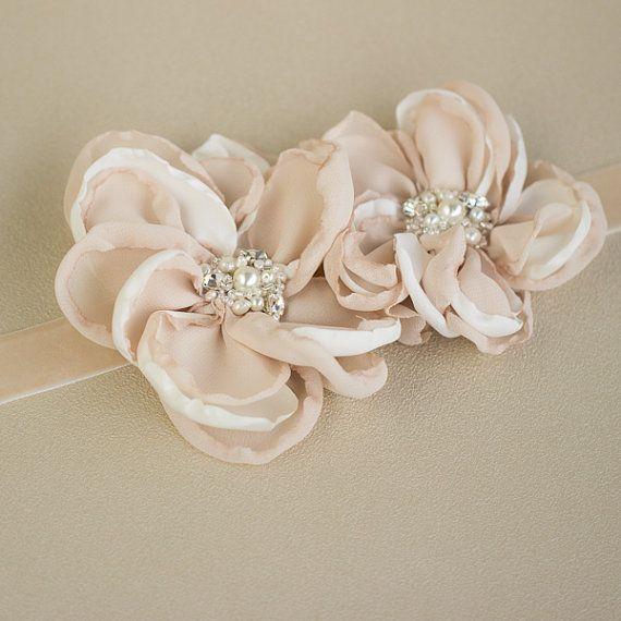 Bridal belt, Floral bridal belts, Flower wedding belts sashes, Nude ...