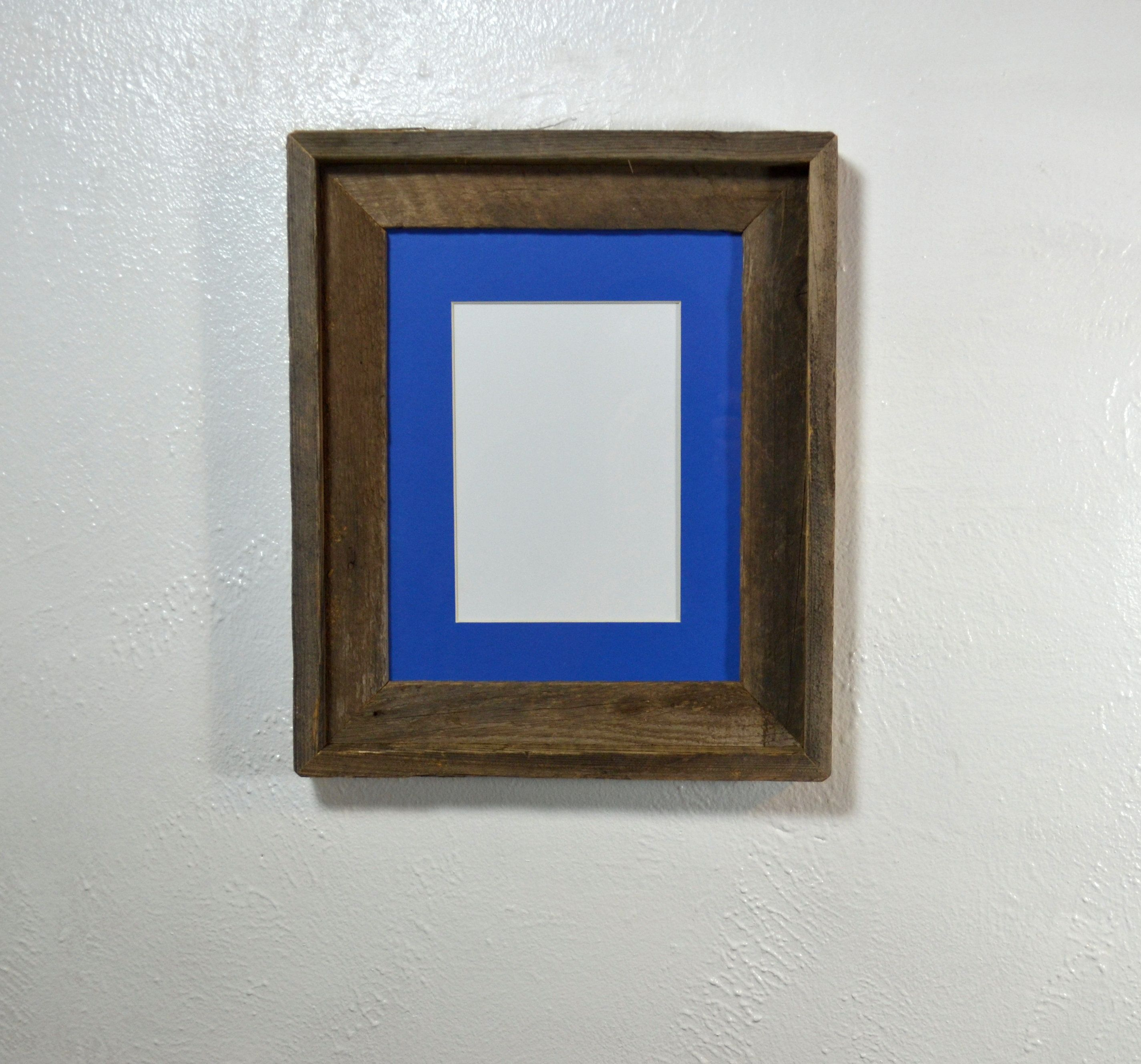 Photo Frame 5x7 Or 8x6 Blue Mat 8x10 Without Mat Reclaimed Wood Picture Frames Wood Picture Frames Hanging Pictures