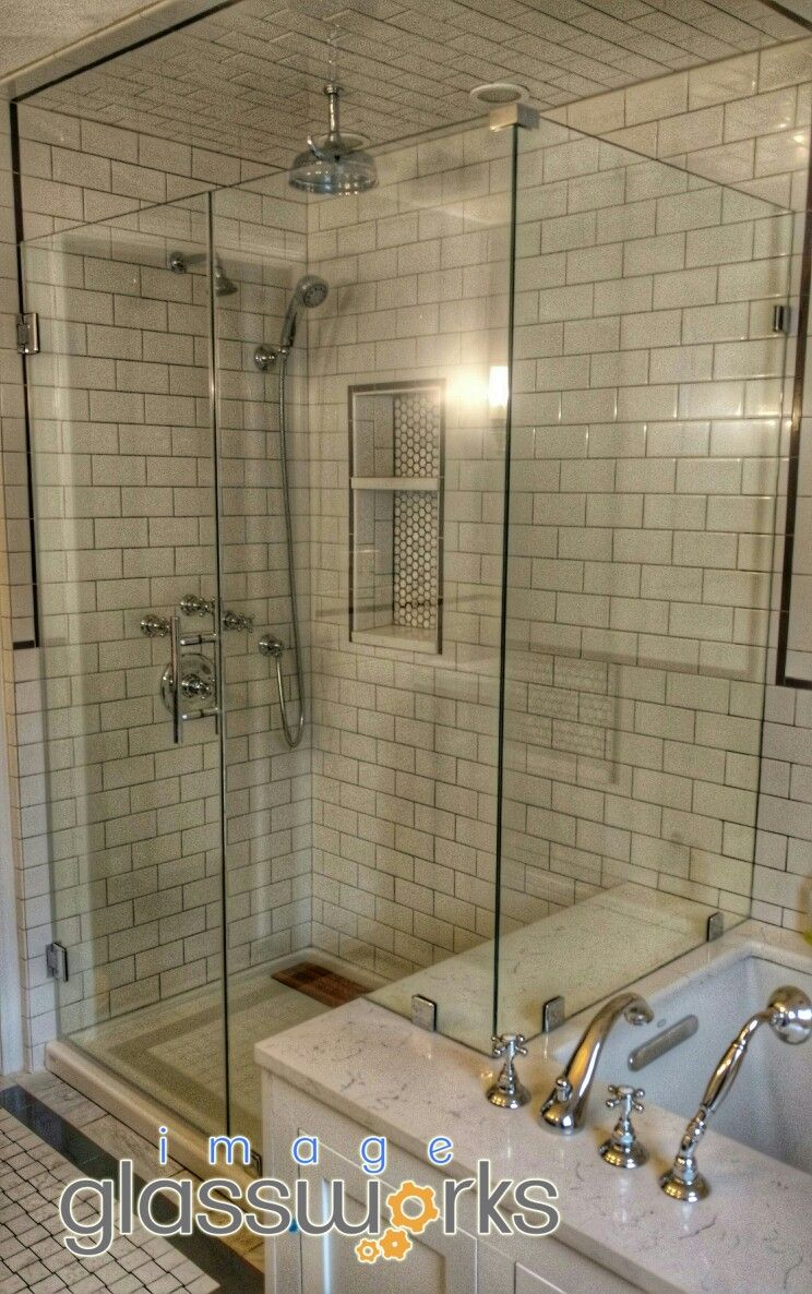 Beautiful Frameless Shower Door With A Notched Inline Panel And Return Panel Installed With Clips And Chrome H Frameless Shower Doors Shower Wall Shower Doors