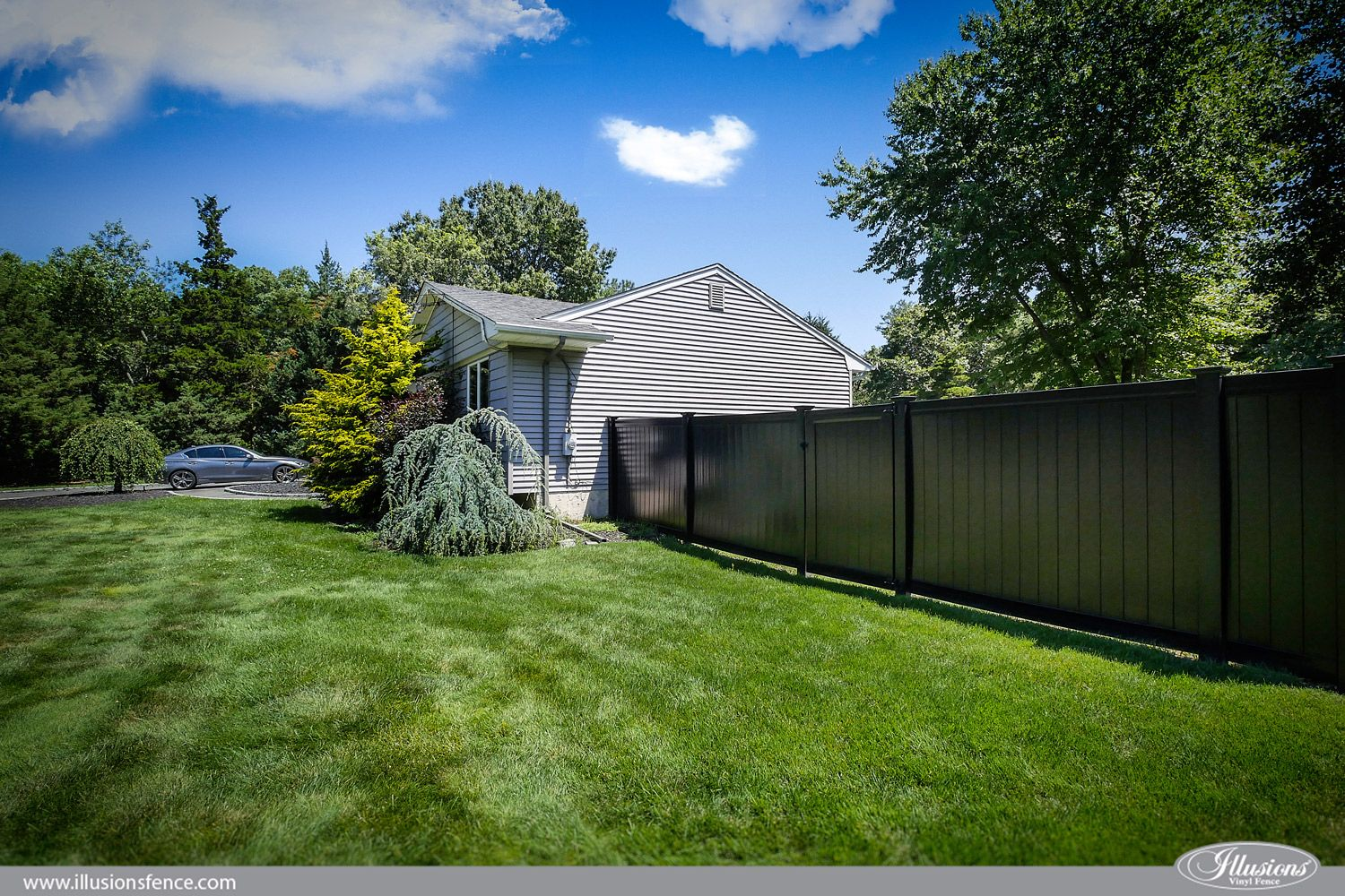 Black Vinyl Privacy Fence From Illusions Vinyl Fence Vinyl Privacy Fence Vinyl Fence Types Of Fences