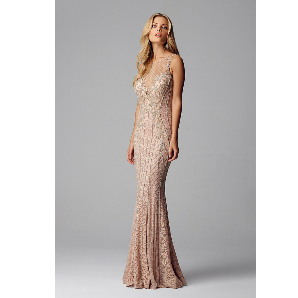 Alberto Makali Nude Beaded evening gown 184280 | Our Store ...