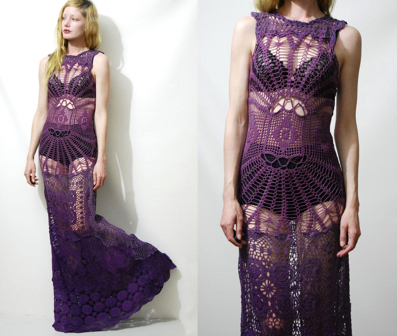 Lace dress vintage  Crochet Dress VINTAGE LACE Spiderweb Purple OMBRE Long Maxi Sheer