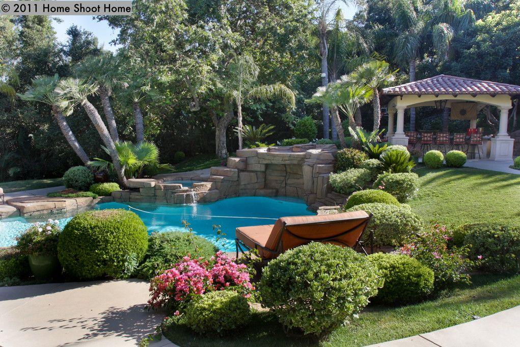 Spanish Mediterranean House Backyard Landscaping Plans Backyard Backyard Pool Designs