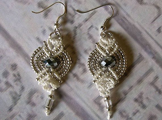 Micro macrame silver and white earrings by EgyptianInspirations, $13.99