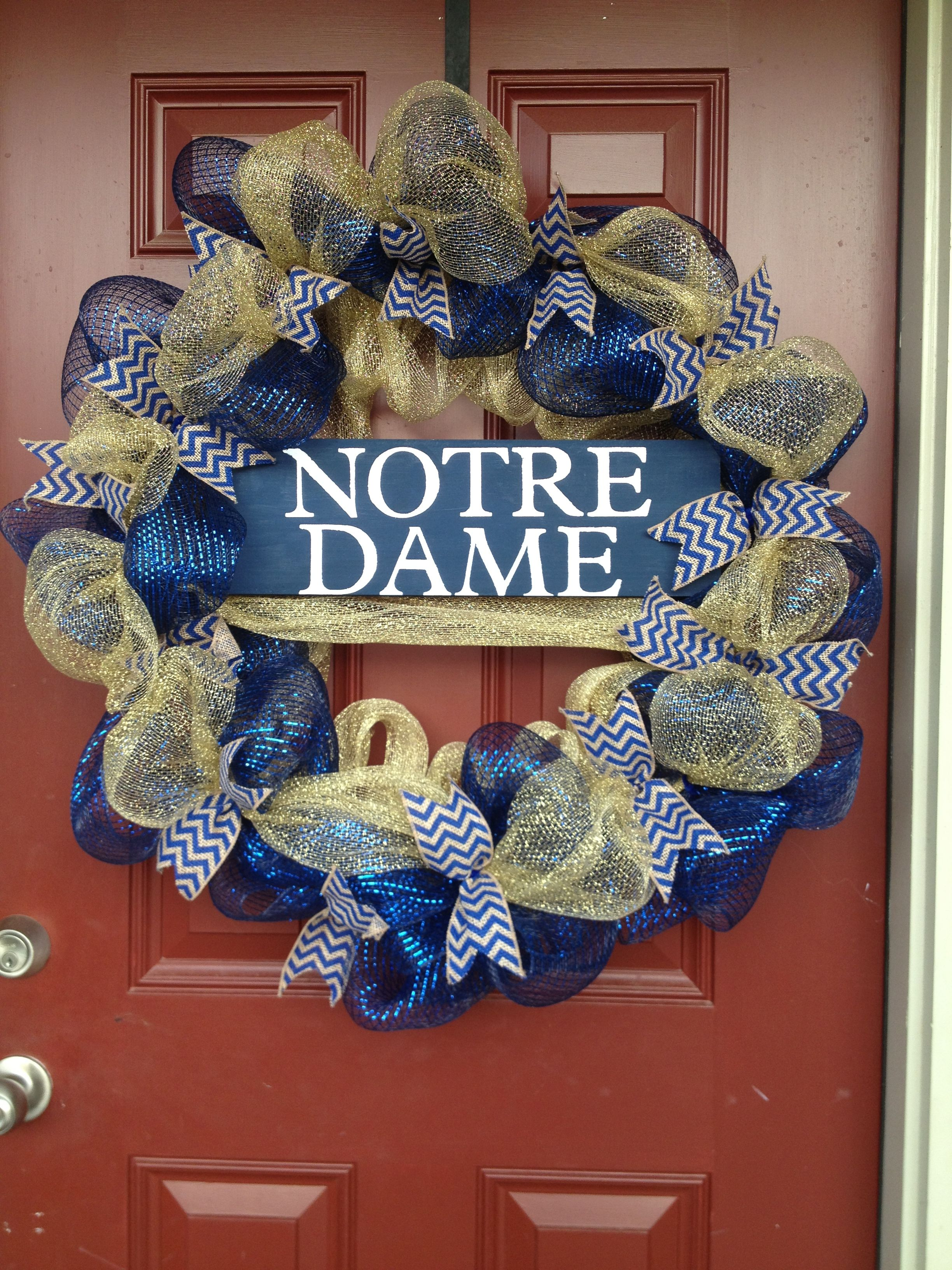 Notre Dame wreath I made for my husband. Deco mesh