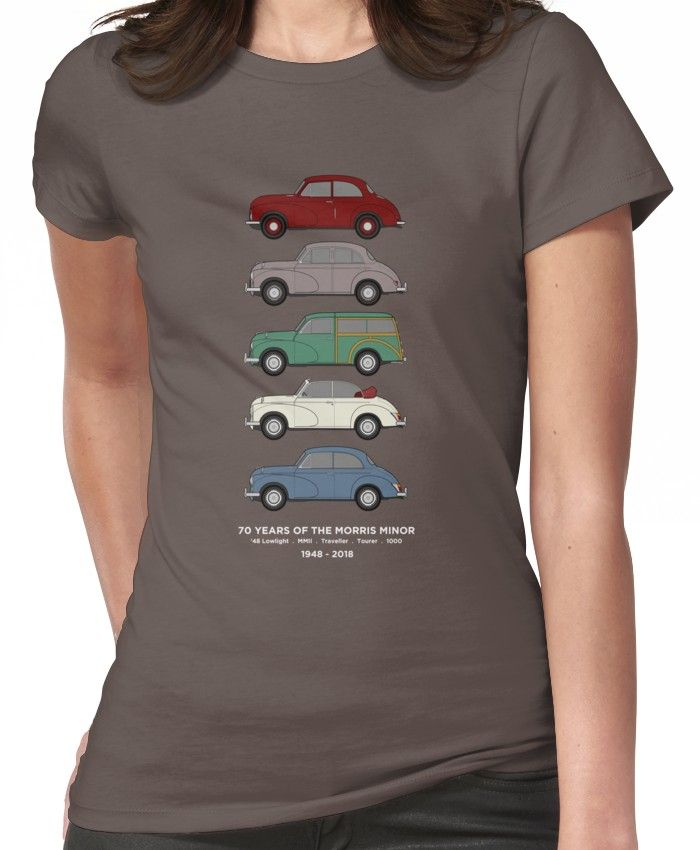 'Morris Minor 70th Anniversary Classic Car Collection Artwork' T-Shirt by RJWautographics